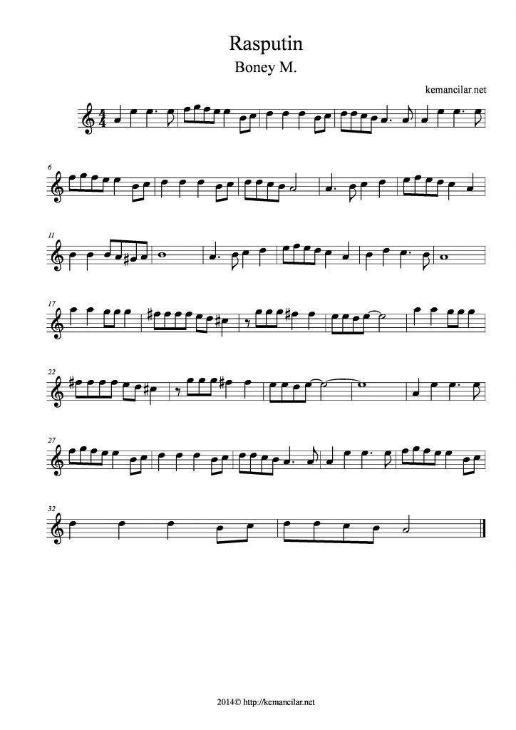rasputin violin sheet music