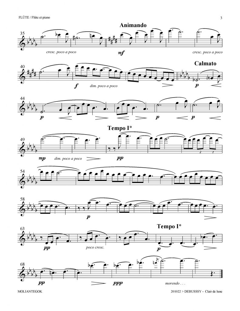 clair de lune violin sheet music