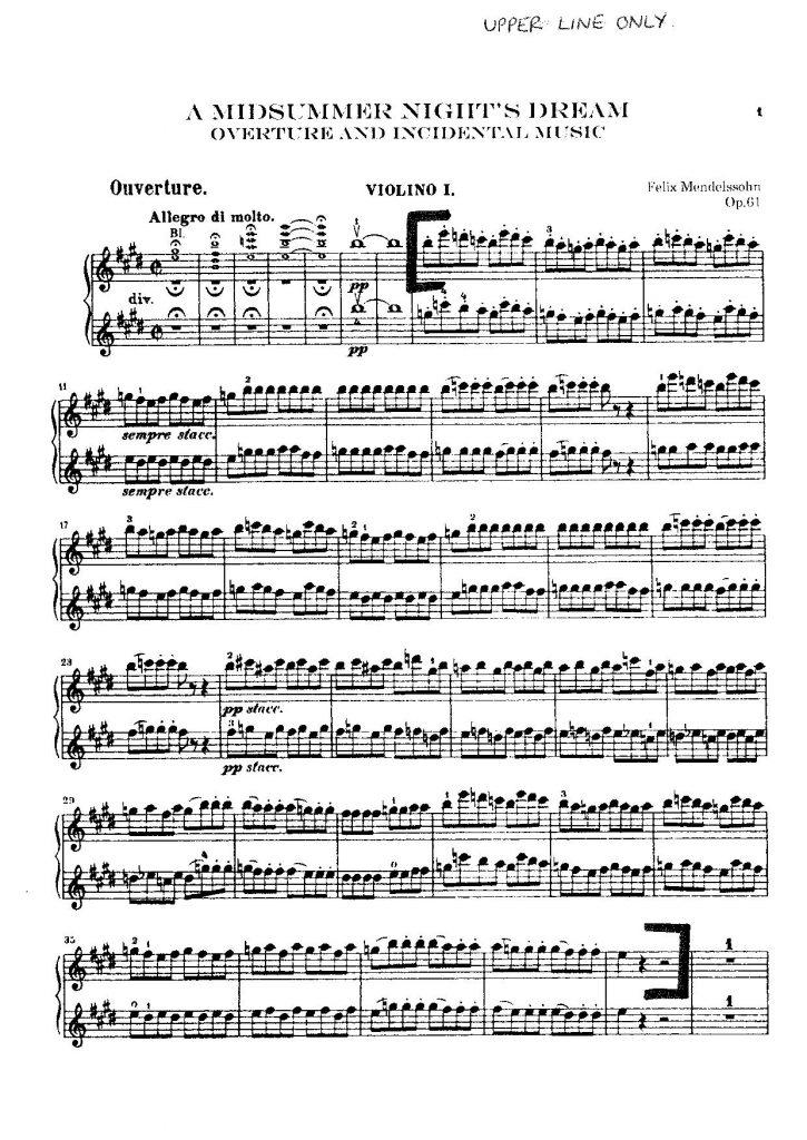 A Midsummer Night's Dream violin excerpt-Overture