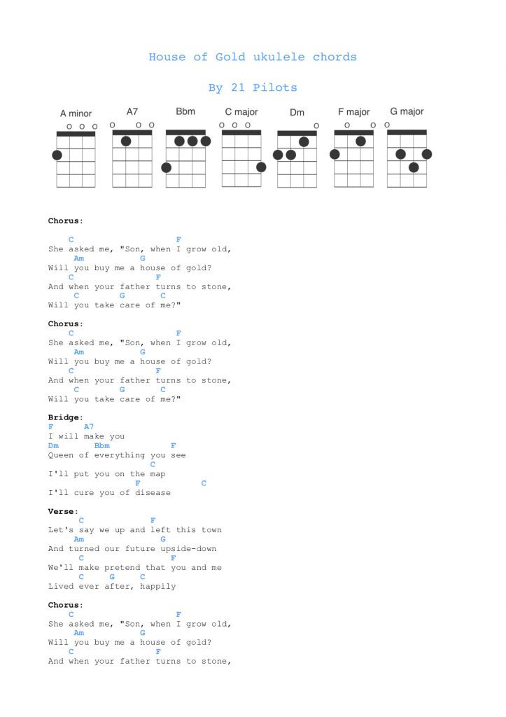 House of Gold ukulele chords