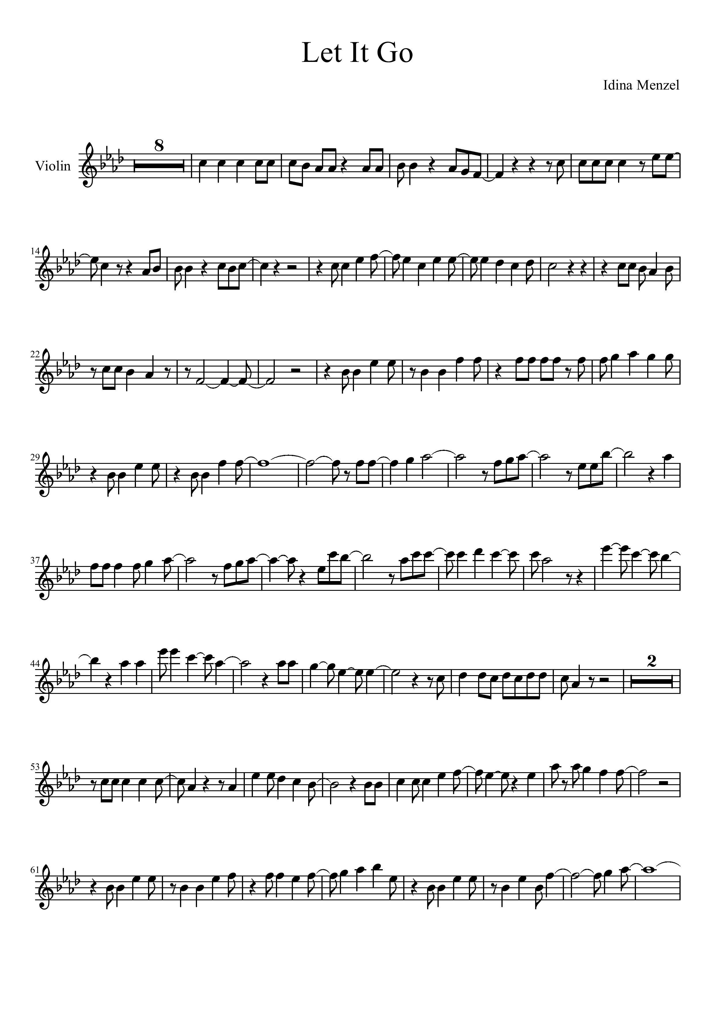 Let It Go Violin Sheet Music Free Sheet Music