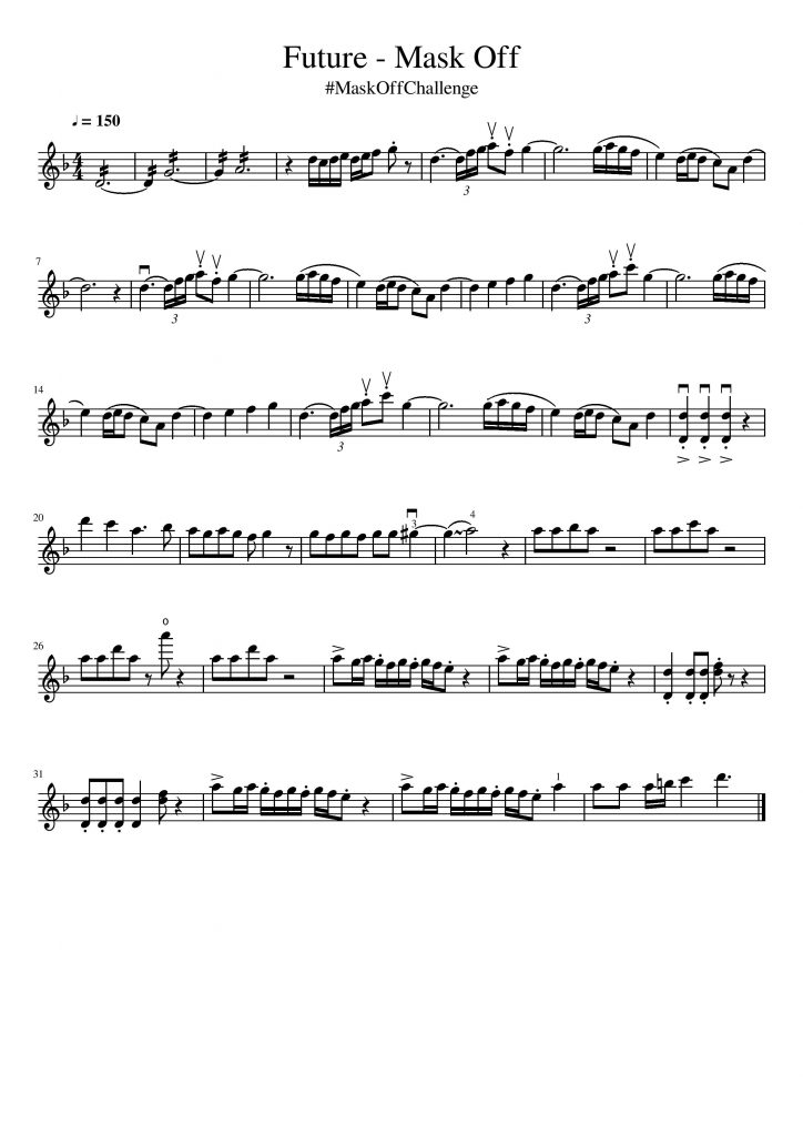 mask off violin sheet music