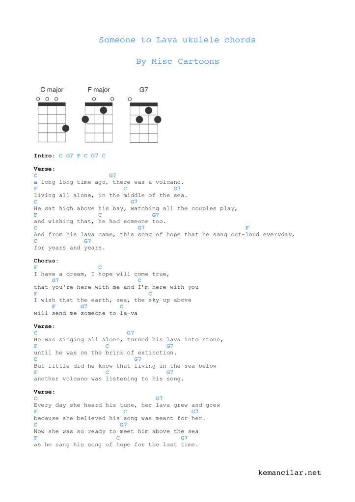 someone to lava ukulele chords