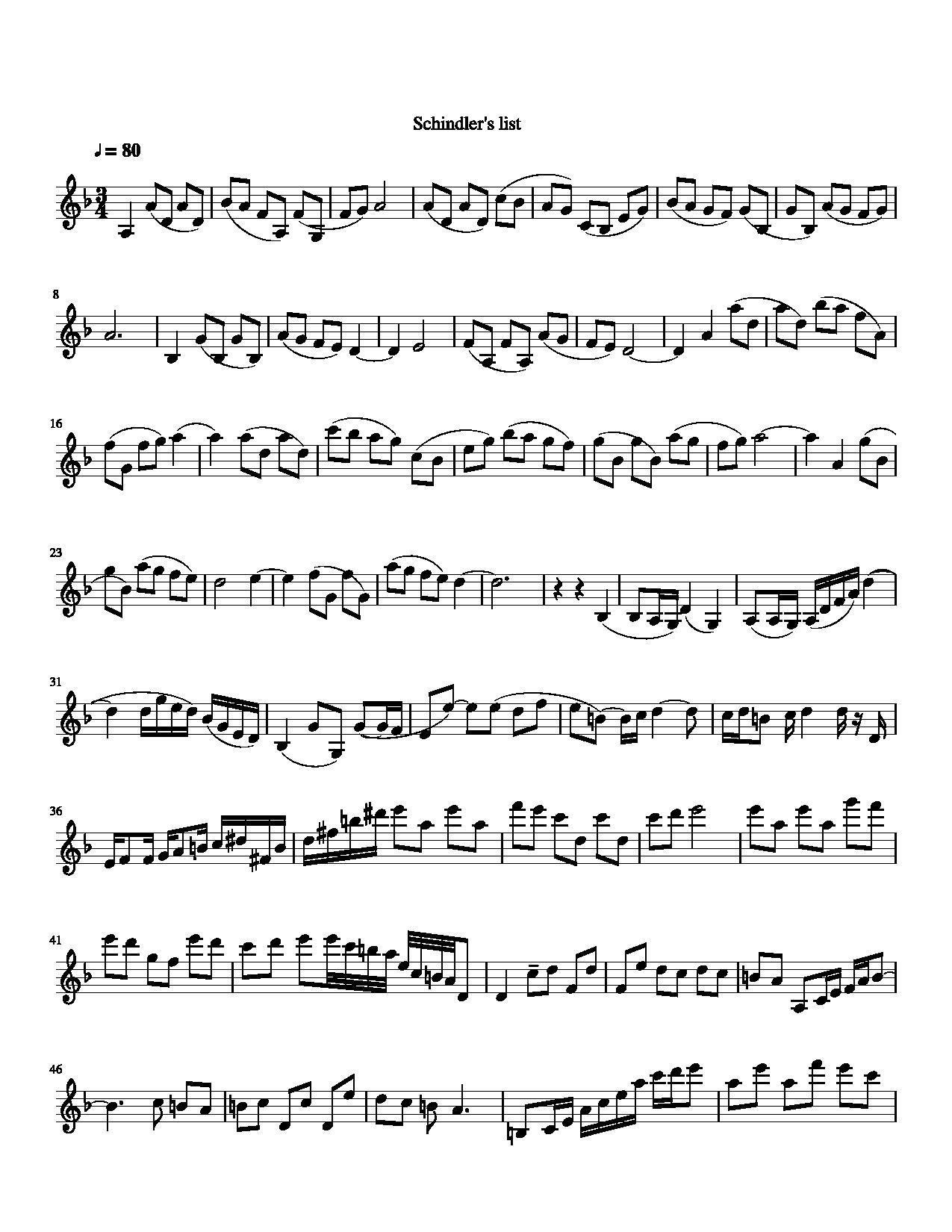 schindlers list violin sheet music