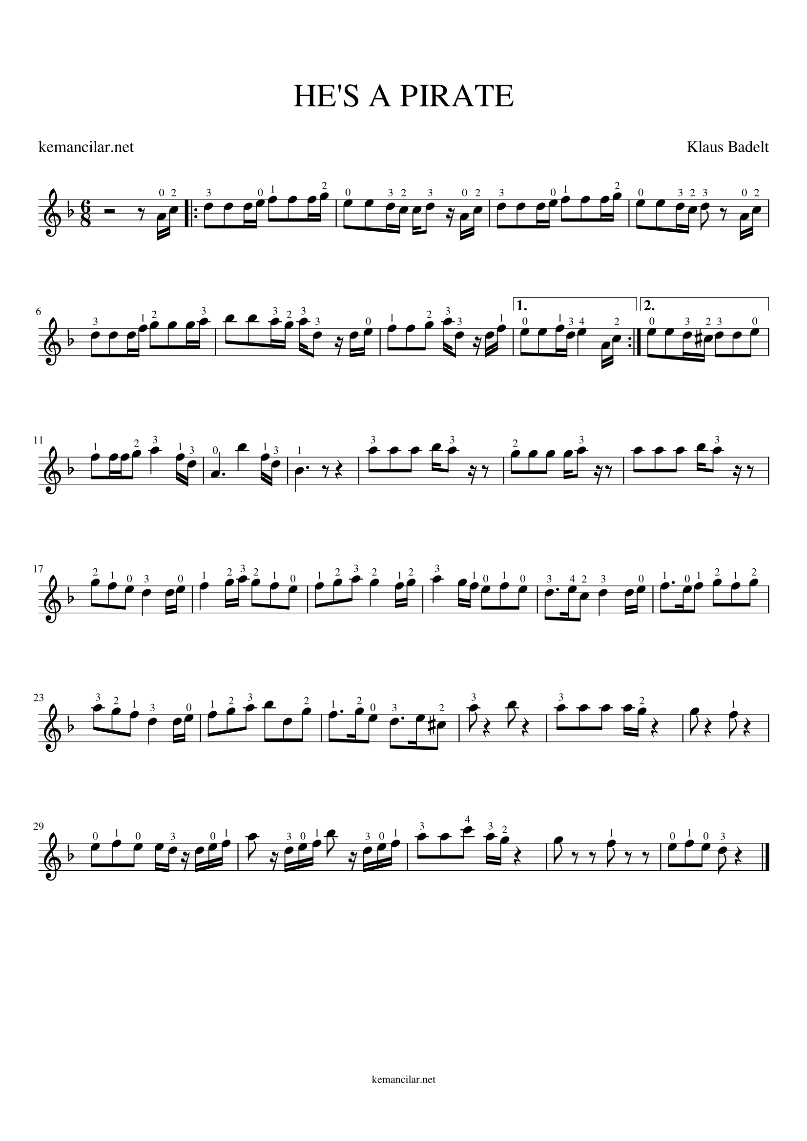 pirates of the caribbean violin sheet music